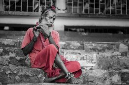 Devotee with the flute.