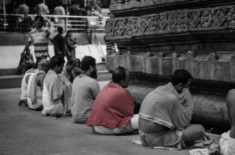 Prayers outside the temple.